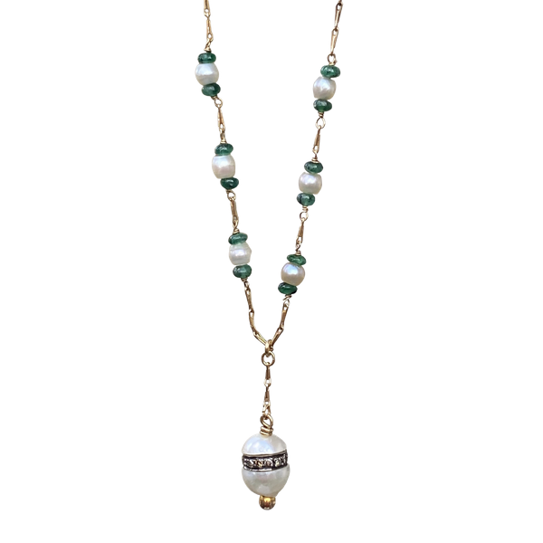A Pearl, Cabochon Emerald and Diamond Necklace - image 1