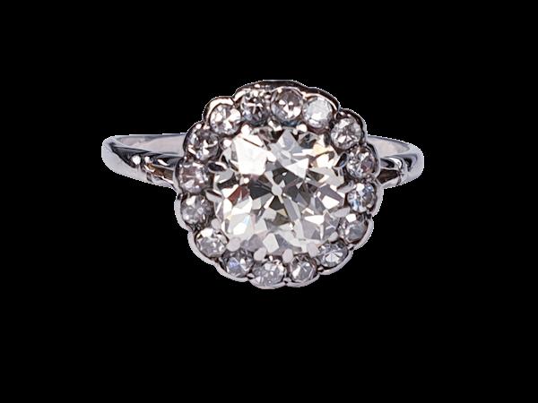 Antique diamond cluster ring 4642   DBGEMS - image 1