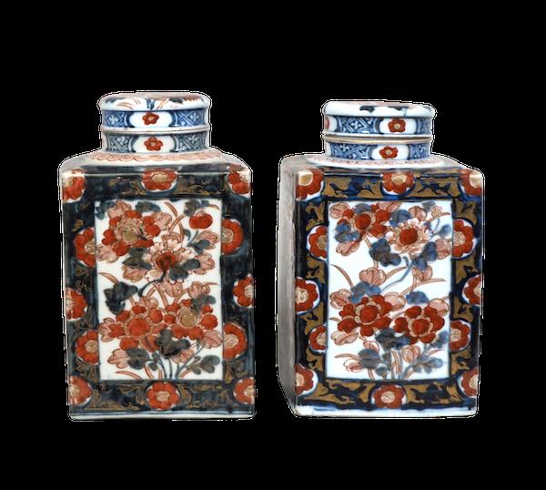 Pair Japanese Imari Tea jars - image 1