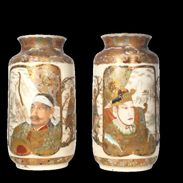 Pair Japanese Satsuma vases - image 1