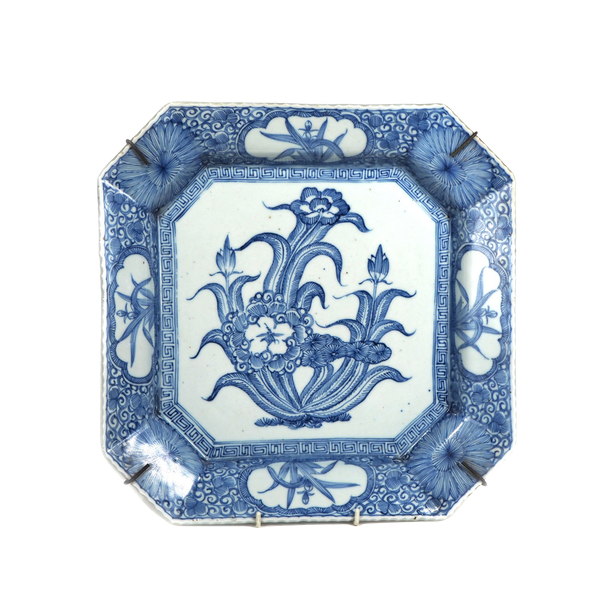 Square blue and white plate - image 1