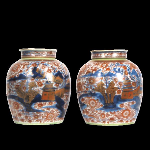 Pair Chinese clobbered ginger jars - image 1