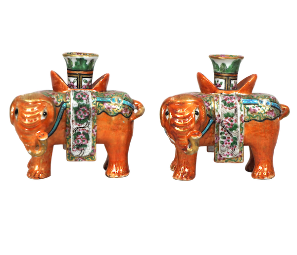 Pair of Chinese elephant candle holders - image 1