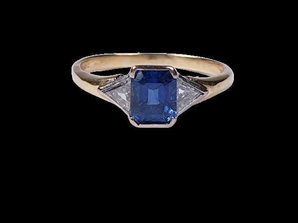 Emerald Cut Sapphire and Trilliant Cut Diamond Ring 1581  DBGEMS - image 1
