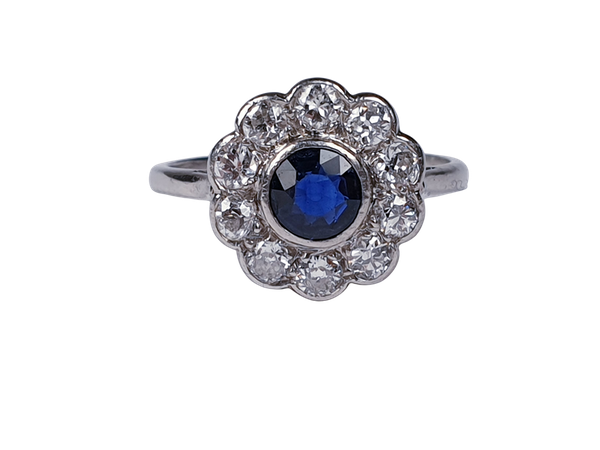 Art Deco Sapphire and Diamond Cluster Ring 2338  DBGEMS - image 1