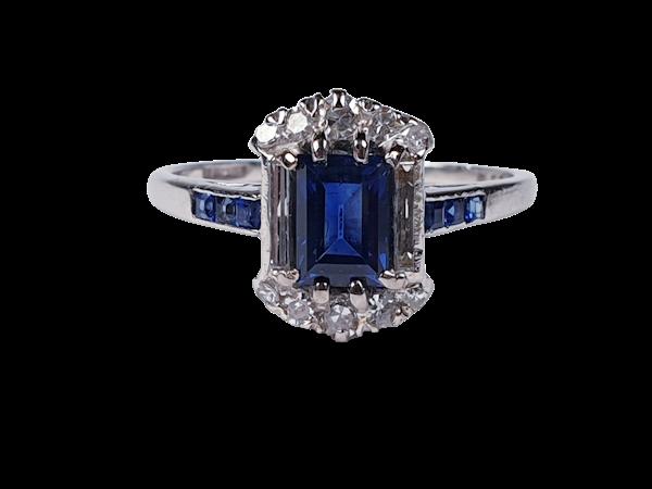 Art deco sapphire and diamond engagement ring 4414  DBGEMS - image 1