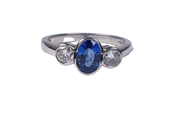 Ceylon Sapphire and Diamond Three Stone Engagement Ring 2374  DBGEMS - image 1