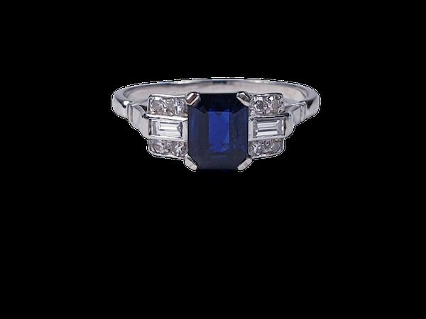 1920's art deco sapphire and diamond engagement ring 4081  DBGEMS - image 1