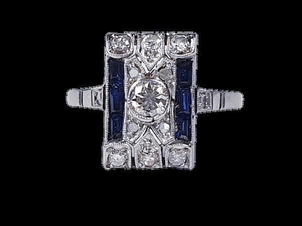 Art Deco Sapphire and Diamond Panel Ring 3828  DBGEMS - image 1
