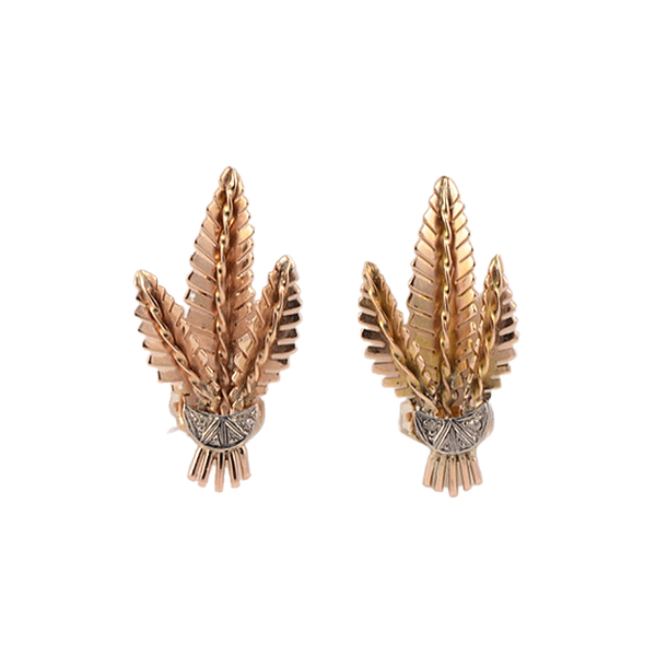 Date: circa 1940, 18ct Yellow & White Gold, Diamond stone set clip Earrings, SHAPIRO & Co since1979 - image 1