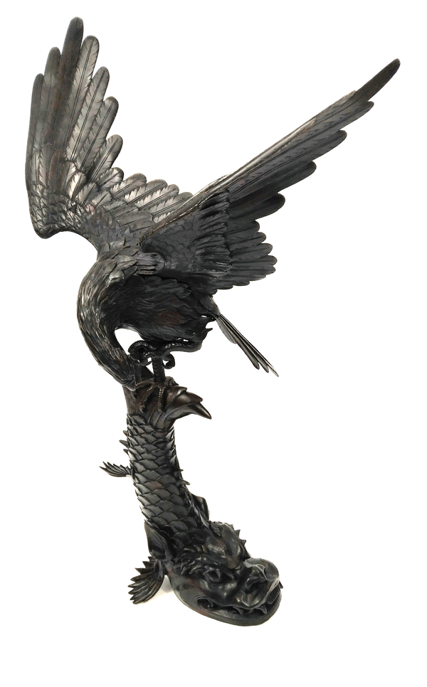 Japanese Meiji  Period  Bronze Okimono of Eagle catching  a Dragon Fish. - image 1