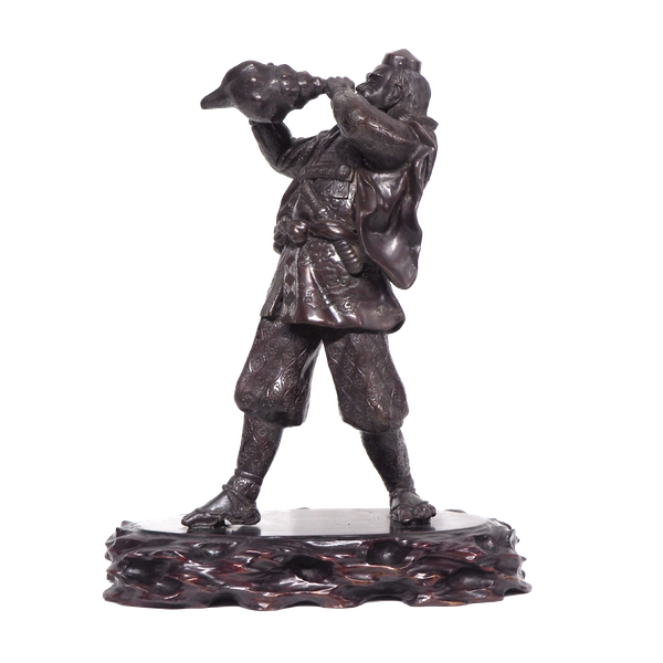 Japanese bronze statue of a Samurai blowing a conch shell - image 1