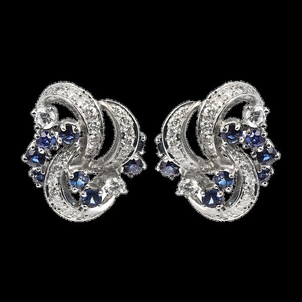 Sapphire & Diamond Earrings - image 1