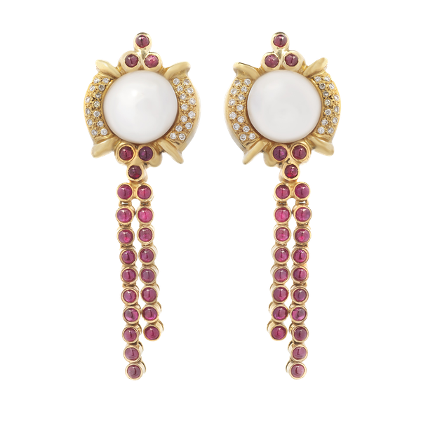 Ruby, Diamond & Pearl Drop Earrings - image 1
