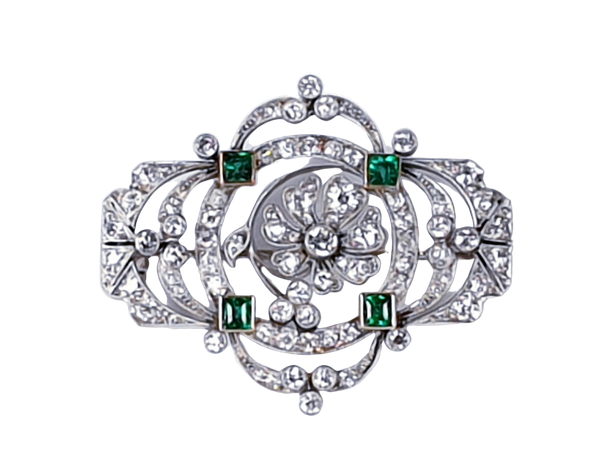 Fine Belle Epoque Emerald and Diamond Brooch 3326  DBGEMS - image 1