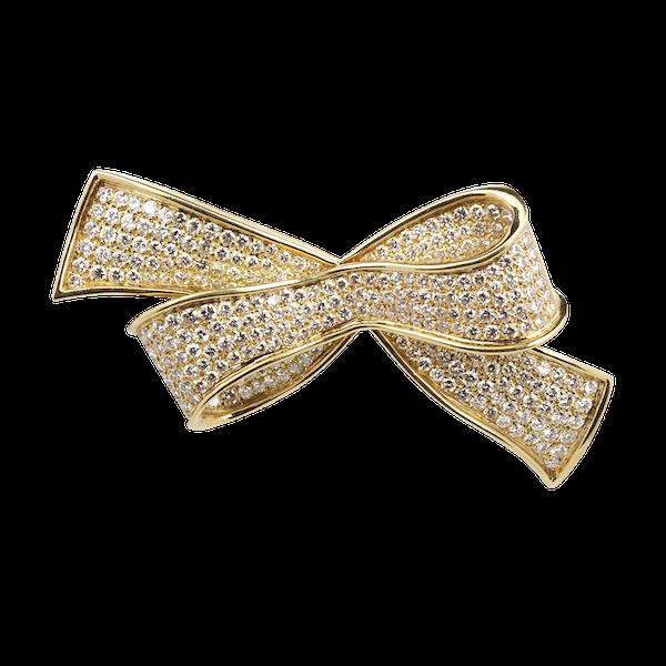 18ct Gold Pave Set Diamond Bow Brooch - image 1