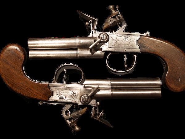 Pair 3 barrelled flintlock pistols - image 1