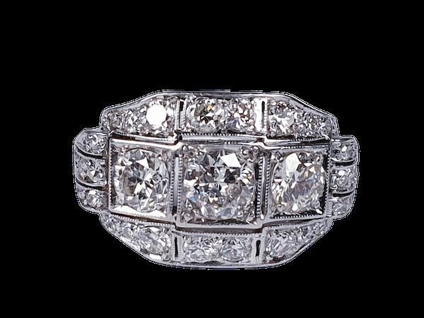 Art deco diamond engagement ring 4588  DBGEMS - image 1