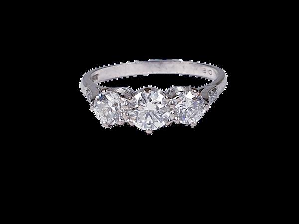 Art Deco Three Stone Diamond Ring 2062  DBGEMS - image 1