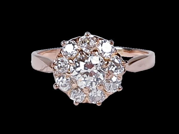 Antique diamond cluster engagement ring 4331  DBGEMS - image 1