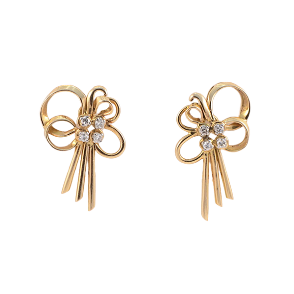 Date: circa 1960, 18ct Yellow Gold, Diamond stone set clip Earrings, SHAPIRO & Co since1979 - image 1