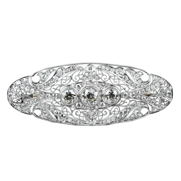 Art Deco Diamond Brooch - image 1