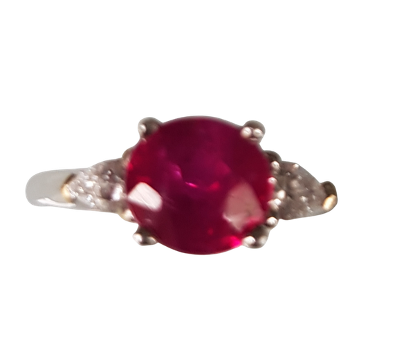 A Fine Burma Ruby Solitaire Ring Offered by The Gilded Lily - image 1