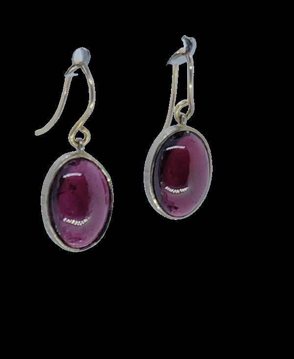 Garnet Cabochon Drop Earrings - image 1