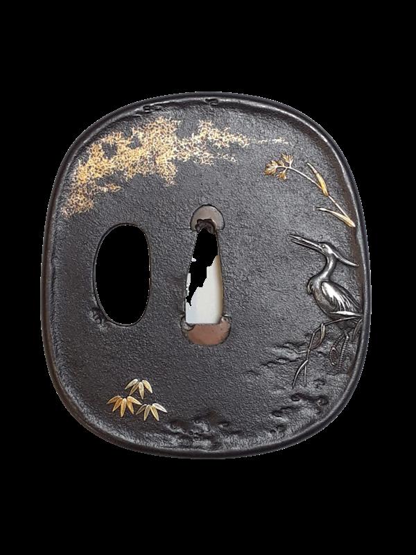 Japanese Meiji Period iron tsuba with a fishing egret - image 1