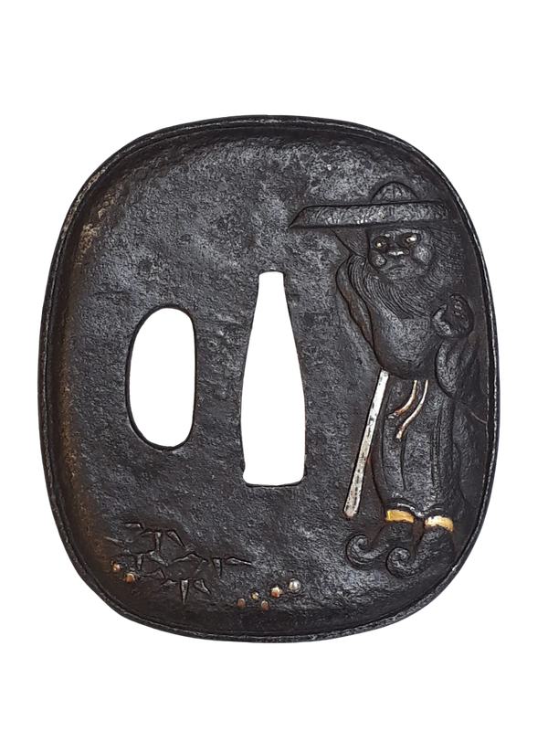 Japanese Meiji Period iron tsuba with decoration of shoki - image 1