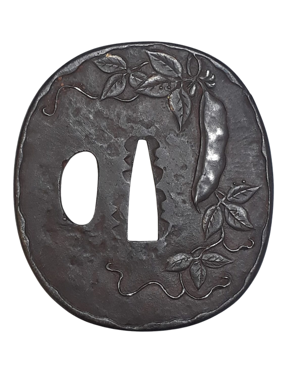 Japanese Meiji Period iron tsuba with peapods - image 1