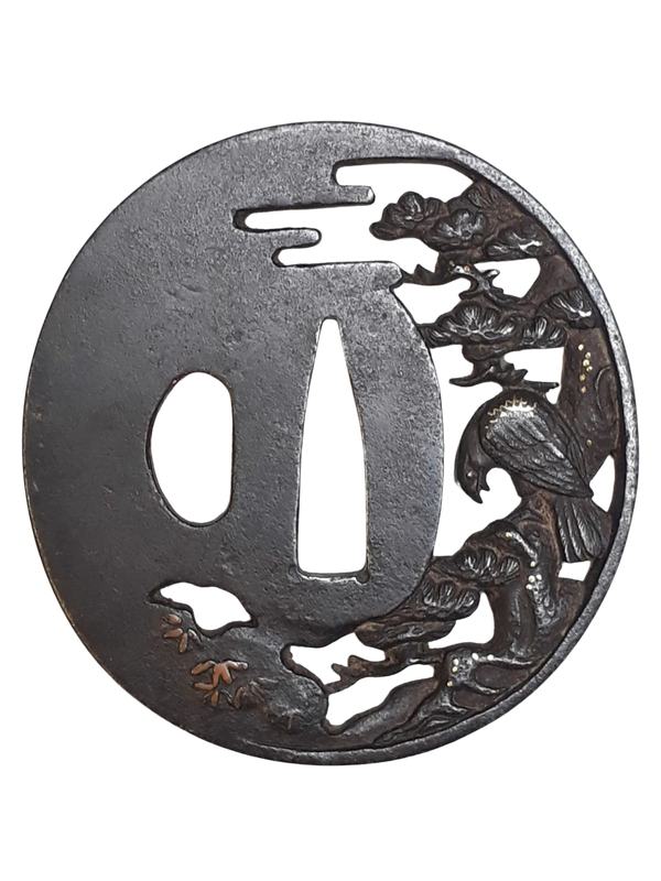 Japanese iron tsuba with a hawk - image 1