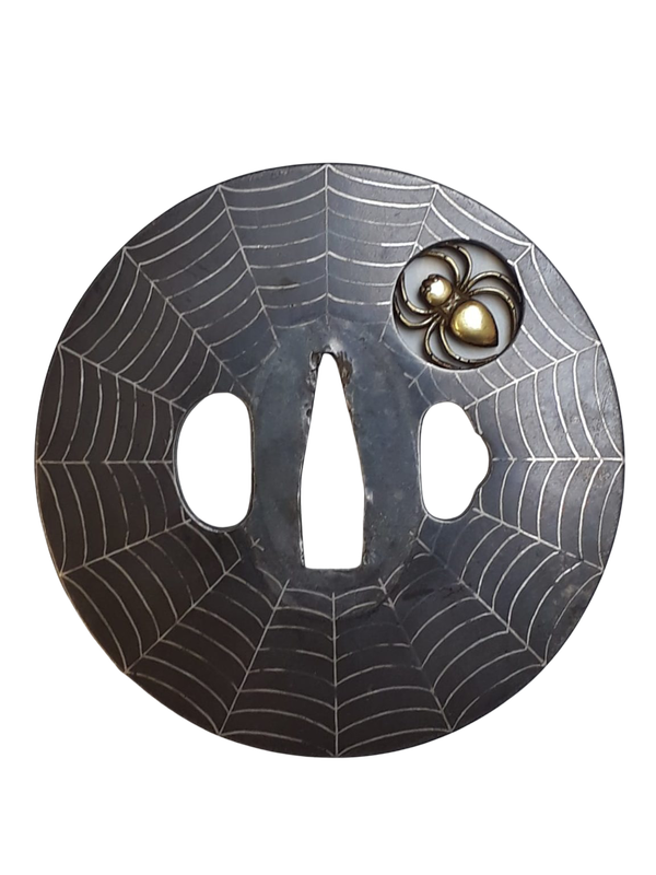 Japanese tsuba decorated with a spider and web - image 1