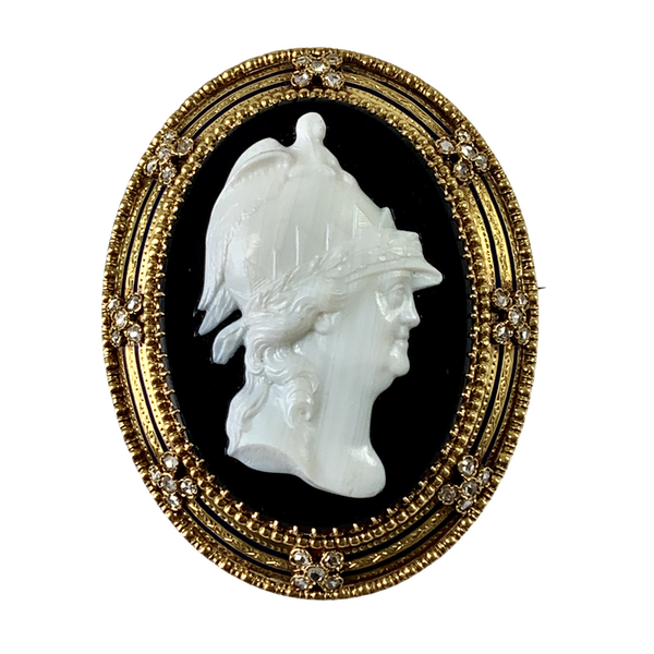 Large glass cameo portrait of Catherine the Great in gold frame - image 1