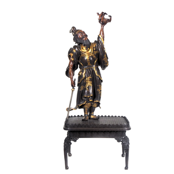 Japanese Meiji Period bronze figure of shoki and an oni - image 1