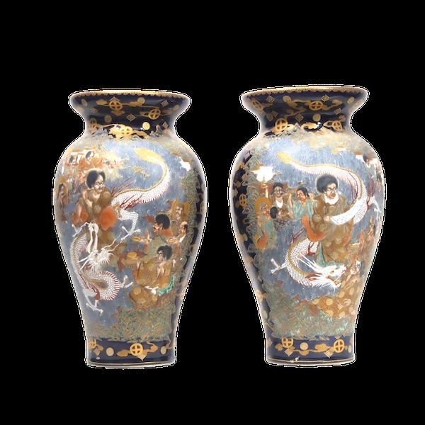 Japanese satsuma vase with dragon decoration - image 1