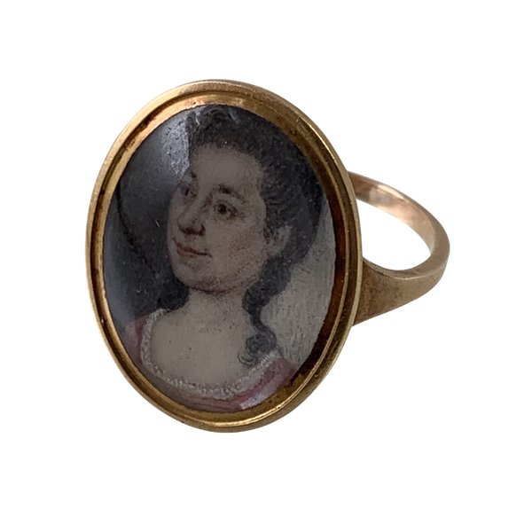 Ca 1800 hand painted portrait ring - image 1