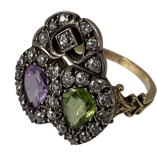 Double heart ring with diamonds - image 1