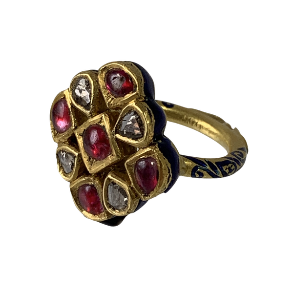 Ca 1880 North Indian ring with diamonds and rubies - image 1