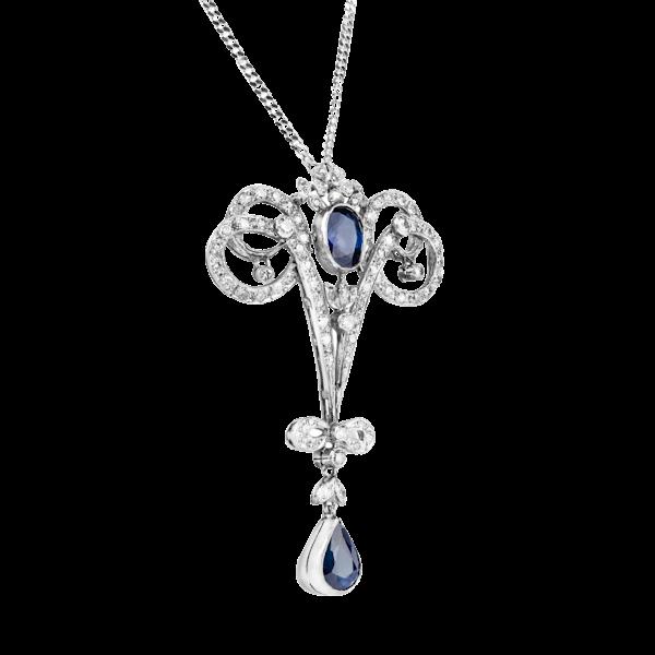 Art Deco Sapphire Diamond Pendant - image 1