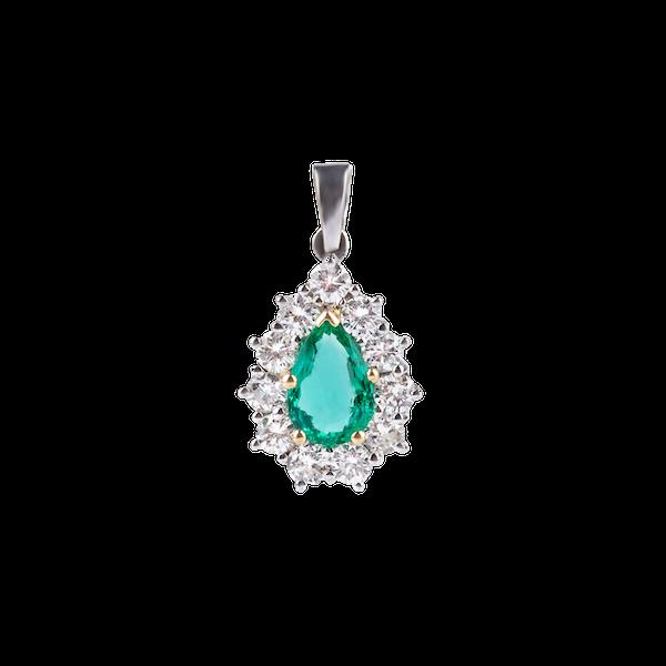 Vintage Emerald Diamond Pendant - image 1