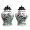 Pair Chinese jars with wood covers - image 1