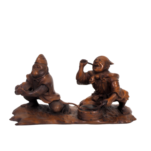 Japanese wood carving of a Monkey and trainer - image 1