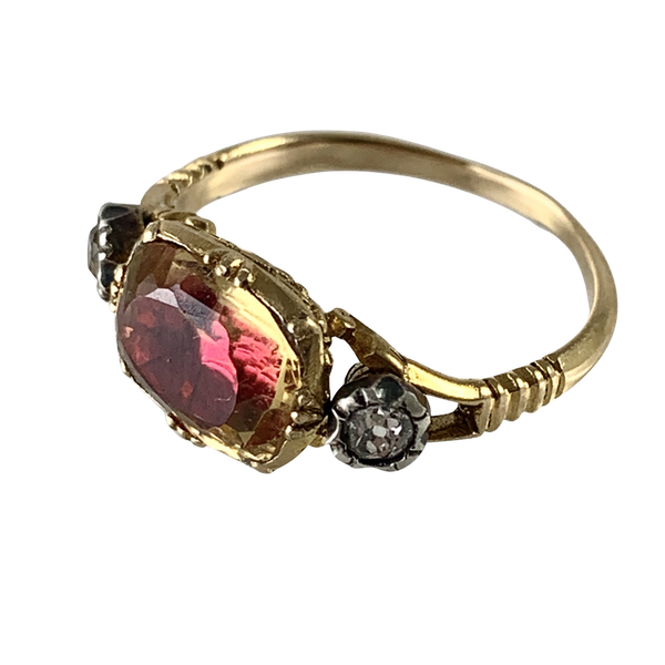 Antique topaz and diamond ring - image 1