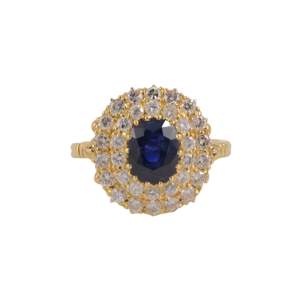 Sapphire Diamond Ring in 18ct Gold date circa1960 SHAPIRO & Co since1979 - image 1
