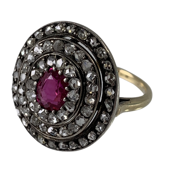 Ca 1880 diamond and ruby cluster ring - image 1