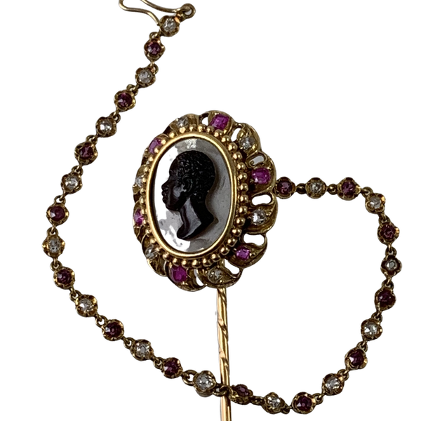 Ca 1860 agate cameo pin with diamonds and rubies - image 1