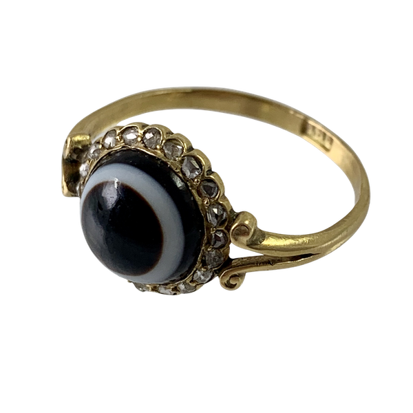 """Agate """"eye""""ring with diamonds - image 1"""