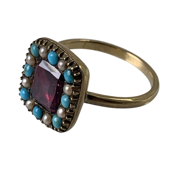 Ca 1820 gold ring with garnet and turquoise and pearls - image 1