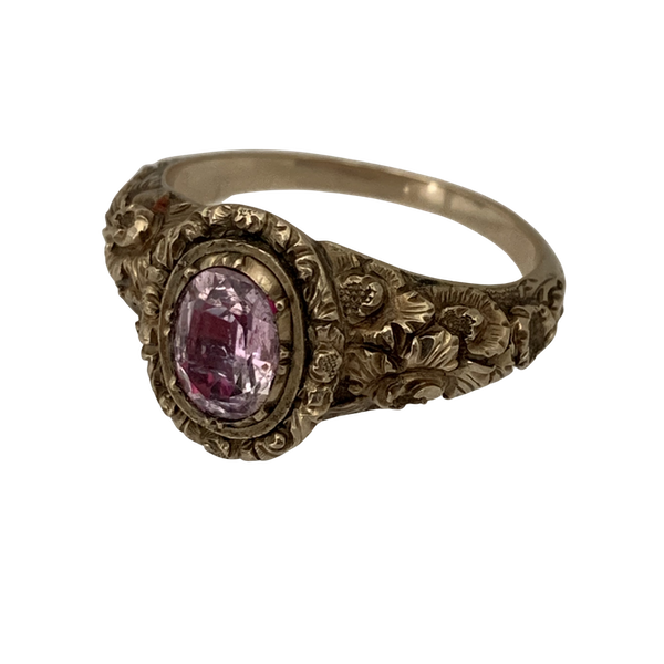 Ca 1820 gold ring with pink topaz - image 1
